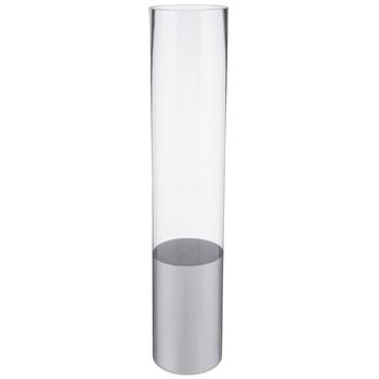Glass Cylinder Vase With Silver Base - Large