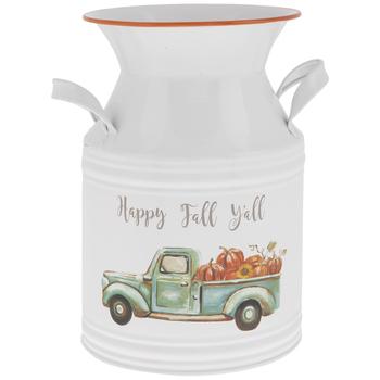 Happy Fall Y'all Metal Milk Can
