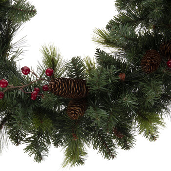 """Pine, Berry & Pinecone Wreath - 24"""""""
