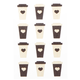 Coffee Cup Glitter Stickers