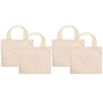 Natural Mini Woven Canvas Tote Bags