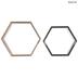 Black & Brown Hexagon Wood Wall Shelf Set