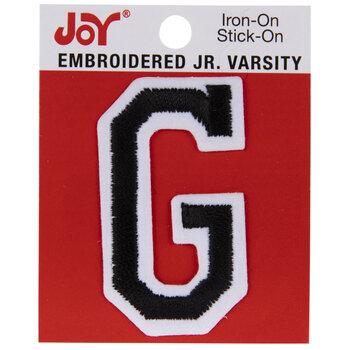 "Black Junior Varsity Letter Iron-On Applique G - 2"""