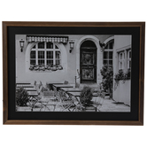 Black & White Patio Seating Framed Wall Decor