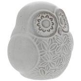 Whitewash Floral Owl