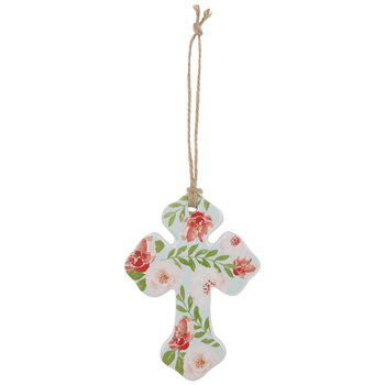 Blue & Pink Floral Wall Cross