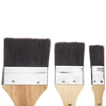 Black Nylon All Purpose Paint Brushes - 3 Piece Set