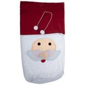 Santa's Face Felt Drawstring Gift Bag