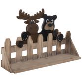 Moose & Bear Fence Wood Wall Shelf