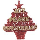 Red & Gold Glitter Joy Tree Ornament
