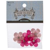 Pink Sparkle Flower Shank Buttons - 26mm