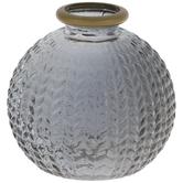 Gray Textured Leaves Glass Mini Vase
