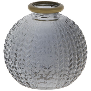 Gray Textured Leaves Glass Mini Vase