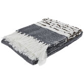 Blue & White Stitched Throw Blanket