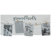 Grandkids Clip Collage Wood Frame
