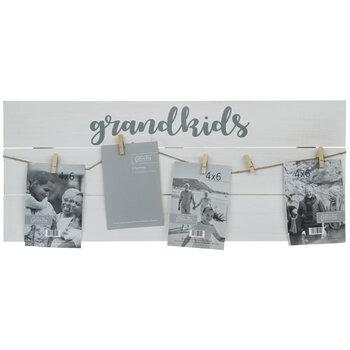 Grandkids Clip Collage Wood Frame