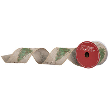 """Merry Christmas Tree Wired Edge Ribbon - 2 1/2"""""""