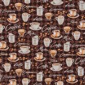 Coffee Print Cotton Calico Fabric