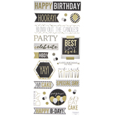 Black & Gold Birthday Phrases Foil Stickers
