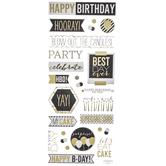 Black & Gold Birthday Phrases Foil Stickers