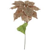 Rose Gold Glitter Poinsettia Stem