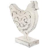 White & Brown Rustic Swirl Hen