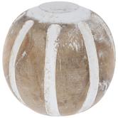 Striped Wood Decorative Sphere