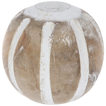 Natural Striped Wood Decorative Sphere