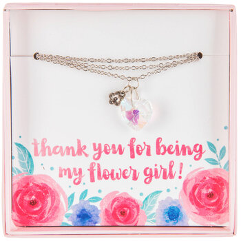 Heart Rhinestone Flower Girl Necklace