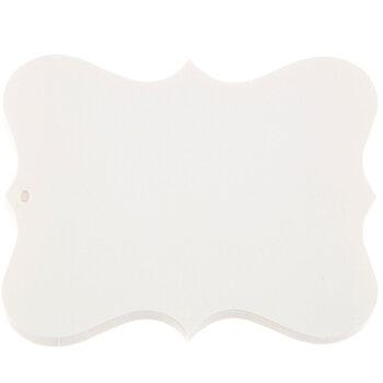"4"" x 3"" Large Ivory Ornate Blank Tags"
