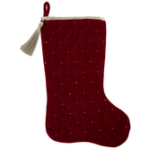 Red Quilted Velvet Sequins Stocking