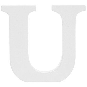 "White Wood Letter U - 3"""