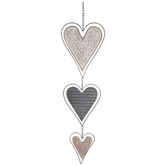 Textured Hearts Hanging Metal Wall Decor