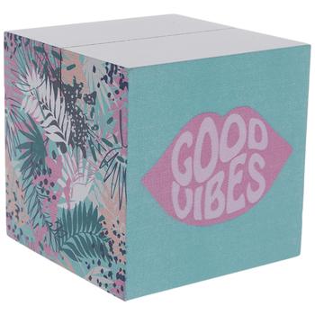 Good Vibes & Leaves Wood Block Photo Holder