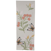 Embroidered Butterfly Floral Table Runner