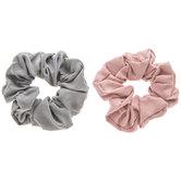 Gray & Rose Pink Microfiber Scrunchies