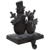Dark Brown Snowman Duo Metal Stocking Holder