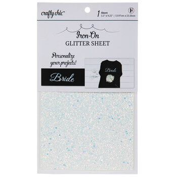 White Glitter Iron-On Transfer