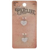 White Rhinestone Heart Charms