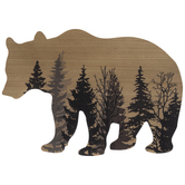 Forest Bear Silhouette Wood Wall Decor