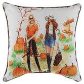 Girls In Pumpkin Patch & Leopard Print Pillow