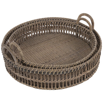 Round Bamboo Tray Set