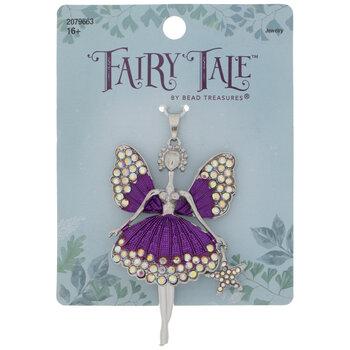 Purple Rhinestone Fairy Pendant