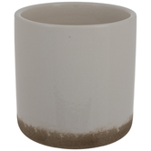 White & Brown Cylindrical Pot