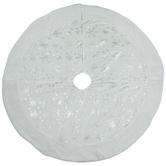 White Velvet Tree Skirt With Silver Foil Snowflakes