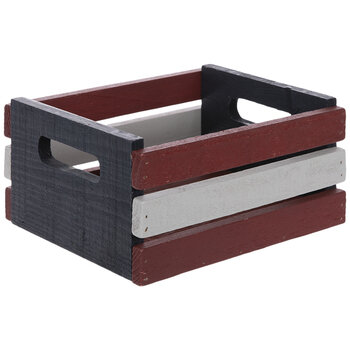 Red, White & Blue Wood Crate