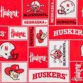 Nebraska Block Collegiate Fleece Fabric