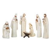 Distressed White Nativity Set