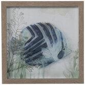 Navy Chevron Fish Framed Wall Decor