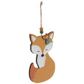 Fox With Flower Wood Ornament